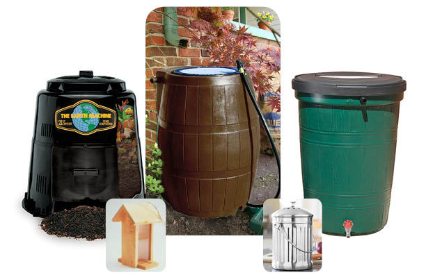 Compost Bin, Rain Barrels, Compost Pail and Birdhouse 2016
